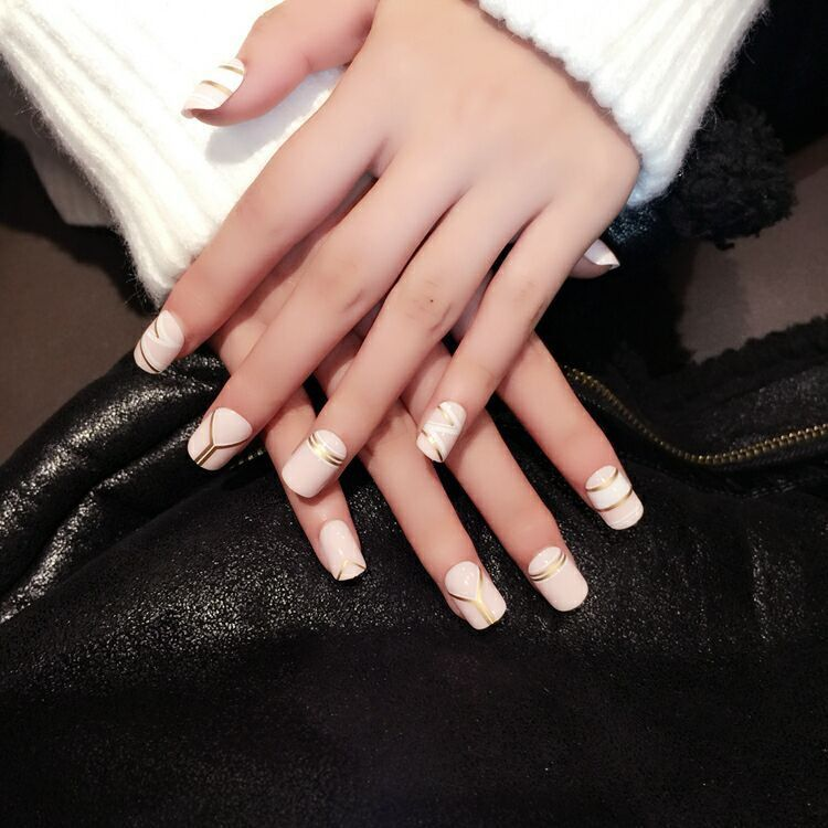 Ambitious Alexandra - Nude & Gold Press On Nails | Faux Pause ...