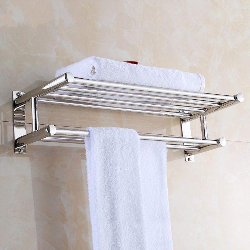 Stainless Steel Wall Mounted Bar Polish Towel Rack Holder Bathroom