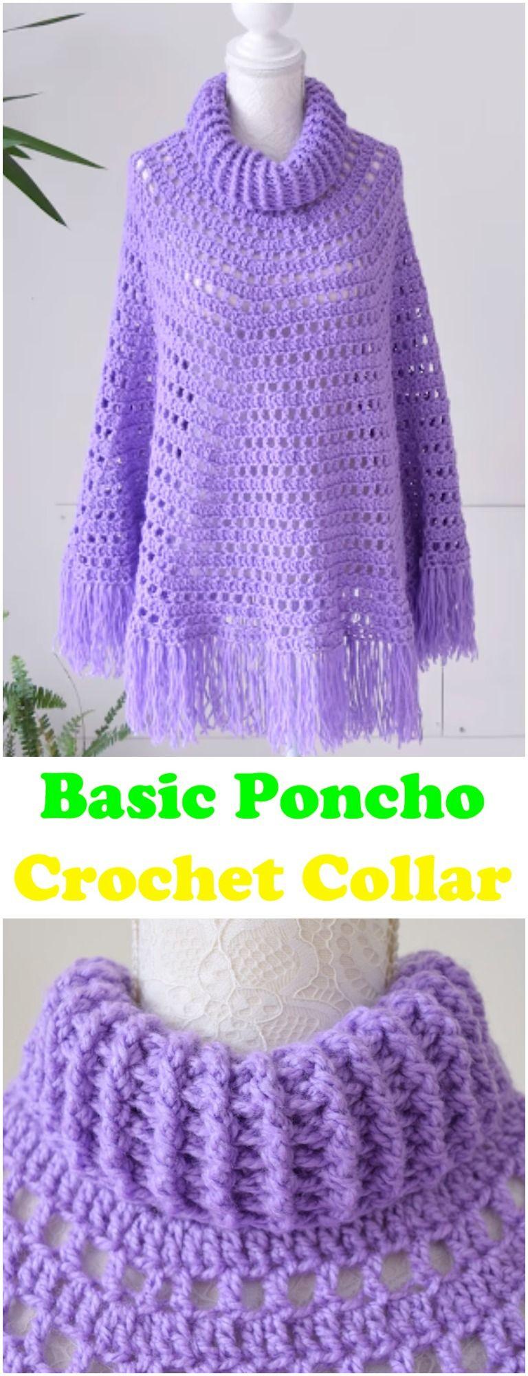 Learn To Crochet Basic Poncho With Crochet Collar | Crochet ...
