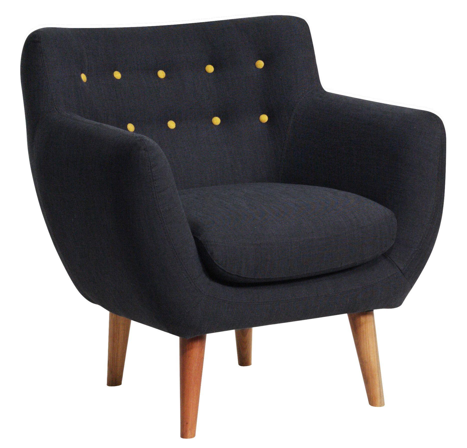 fauteuil rembourr coogee sentou edition d clinaison noir de jais boutons jaune citron. Black Bedroom Furniture Sets. Home Design Ideas