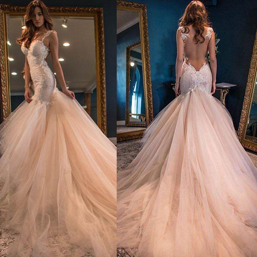 Sexy Backless Lace Mermaid Brautkleider, 2017 Tüll Günstige Brautkleid, Erschwingliche Brautkleider, 17089