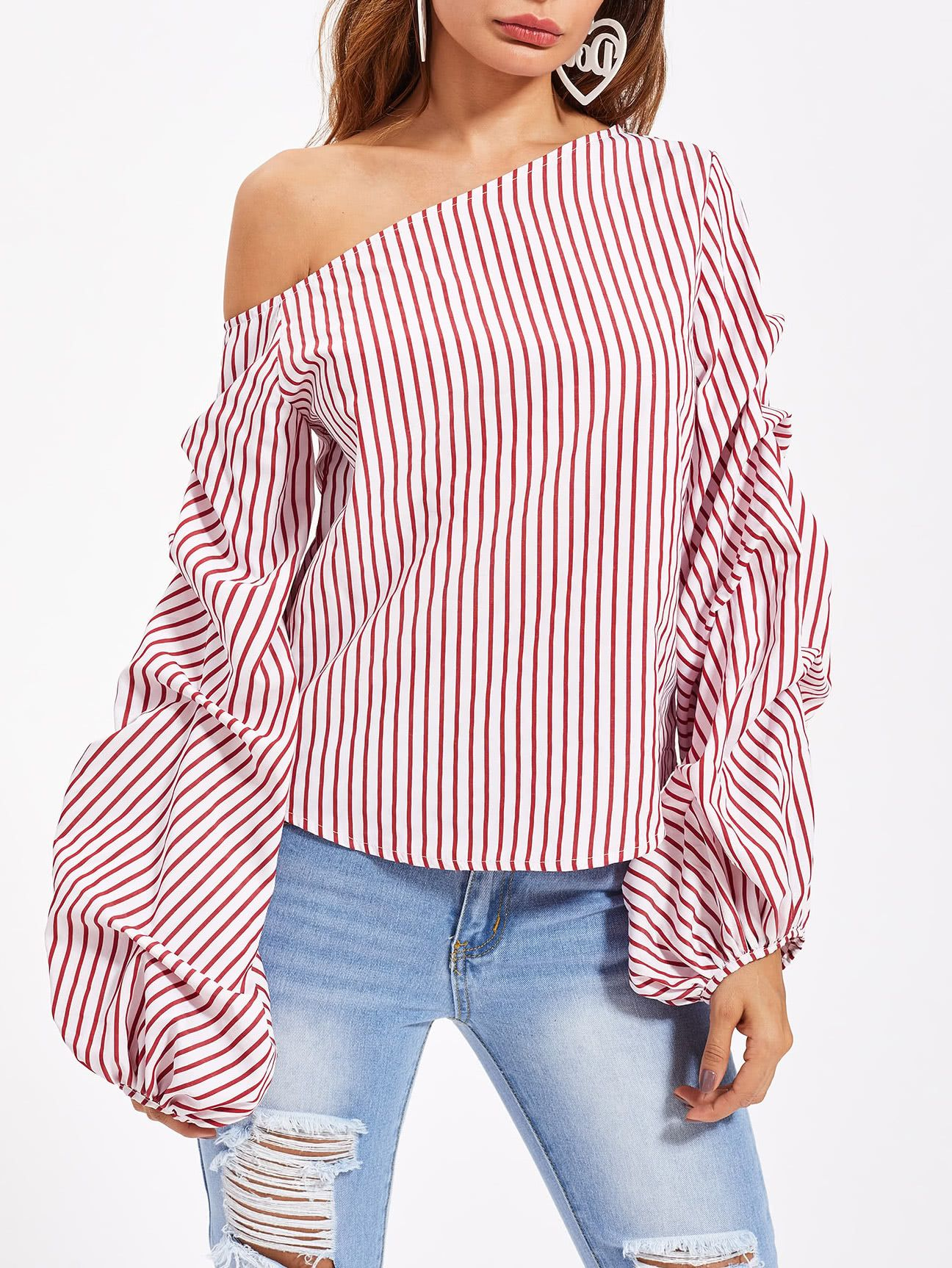 eb081e7c8d0d1 Shop Asymmetric Shoulder Gathered Lantern Sleeve Top online. SheIn offers  Asymmetric Shoulder Gathered Lantern Sleeve Top   more to fit your  fashionable ...