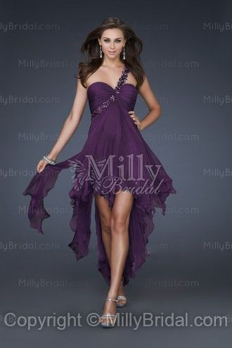 A-line One Shoulder Sashes Ribbons Chiffon Short/Mini Prom Dress
