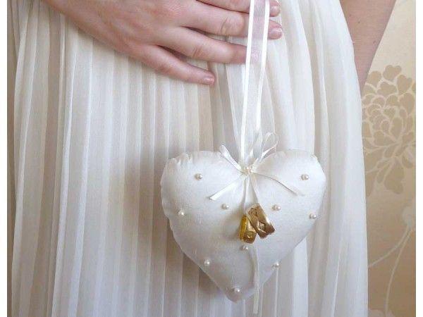 Personalised Ring Cushion Ivory Crystals Pillow Weddingring