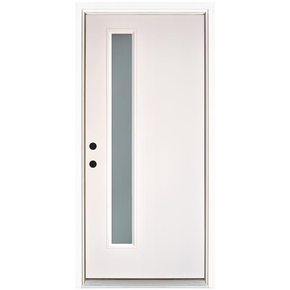Mp Doors 36 In X 80 In Smooth White Right Hand Inswing Narrow 1 Lite Frosted Fiberglass Prehung Front Door N3068r1ntc224 The Home Depot In 2020 Brick Exterior House Front Door Fiberglass Entry Doors