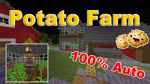 This Tutorial Shows You How To Make A Minecraft Fully Automatic Potato Farm Using Villagers The Auto Farm Also Automatic Farm Minecraft Construction Tutorial
