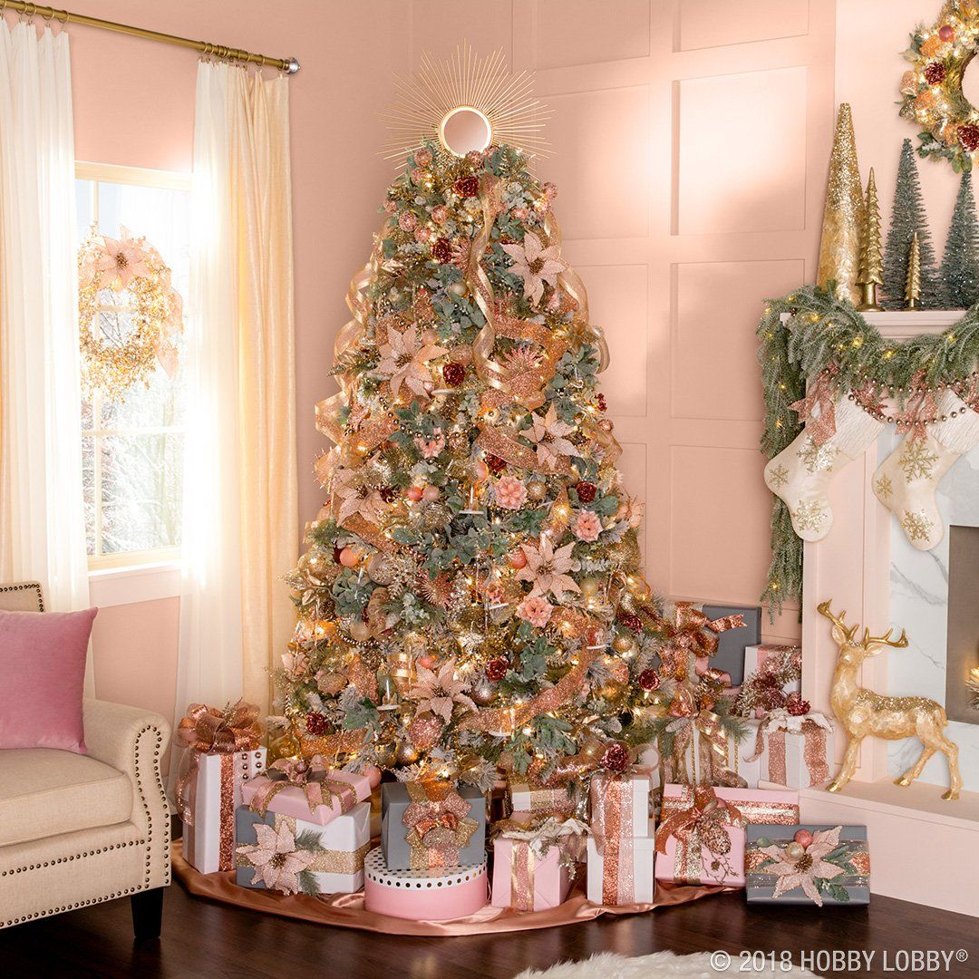 Create A Pretty And Polished Christmas Scene Full Of Gold And Blush Bulbs Ribb Copper Christmas Decor Hobby Lobby Christmas Christmas Decorations For The Home