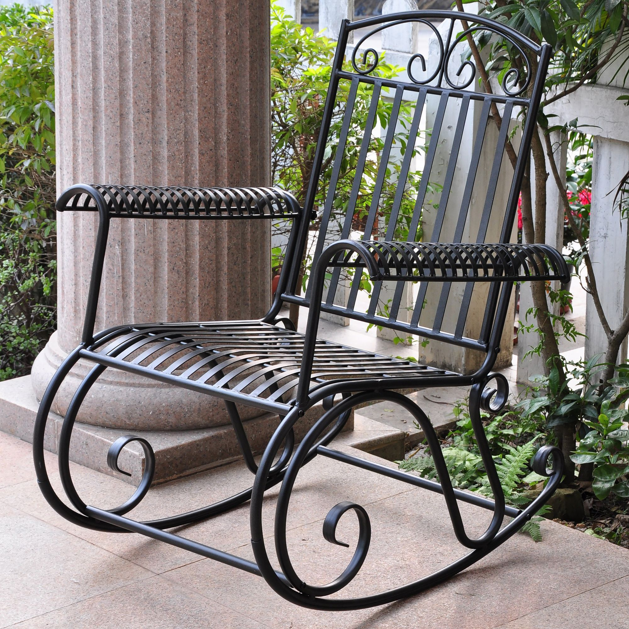 Rocking Chair Is Constructed Of Durable Iron Patio Furniture Features  Weather Resistant Double Powdercoated Black Finish Outdoor Chair Glides  With A Smooth ...