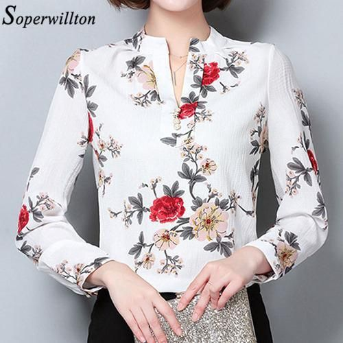bd4ac4f41efa8 Women Shirts Office Blouse 2019 Spring Autumn Long Sleeve Chiffon ...