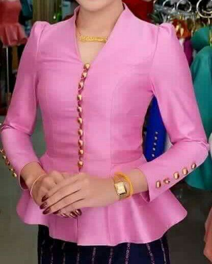 Laos Thai Traditional Synthetic Silk Top Blouse Outfits Any Color