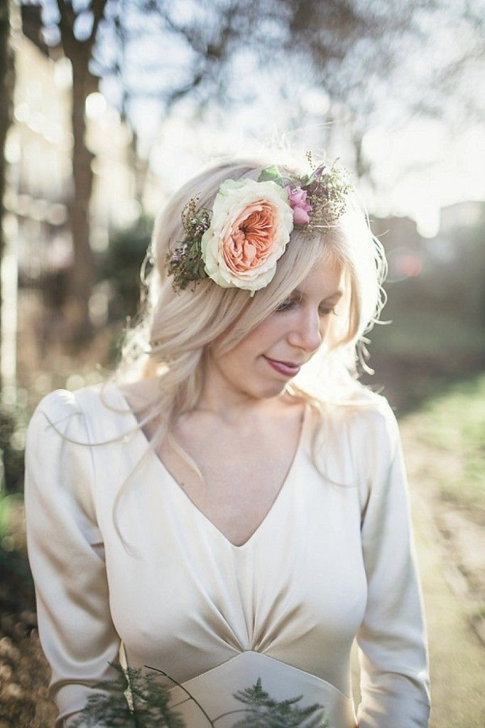 Peach rose flower crown and Halfpenny London wedding dress.  A London Bride Winter Warehouse Wedding at MC Motors