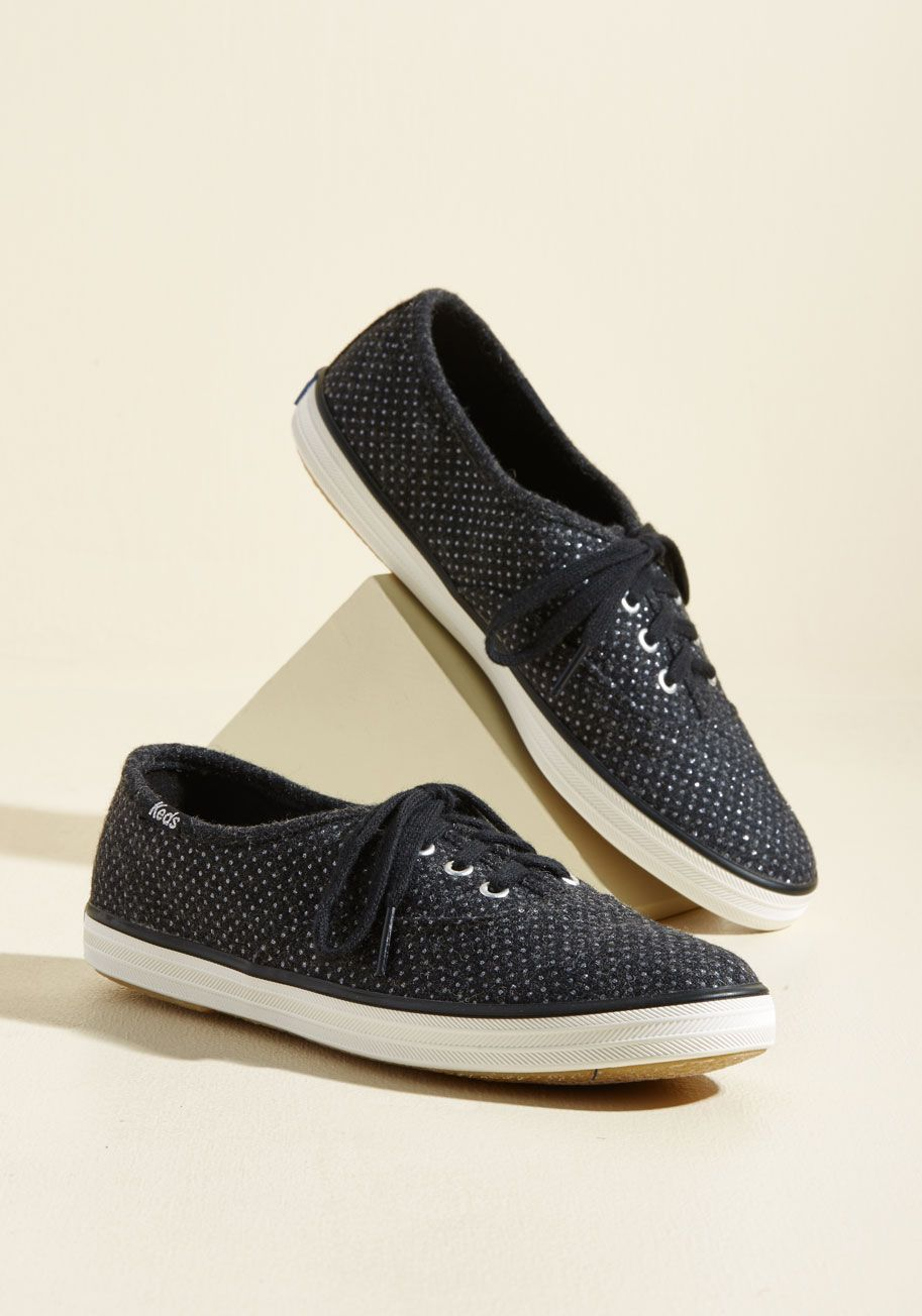 Sparkle Before The Dawn Sneaker By Keds Black Solid Glitter Work Casual Lounge Athletic Winter Flat Good Lace Up Shoes Sneakers Womens Sandals Flat [ 1304 x 913 Pixel ]