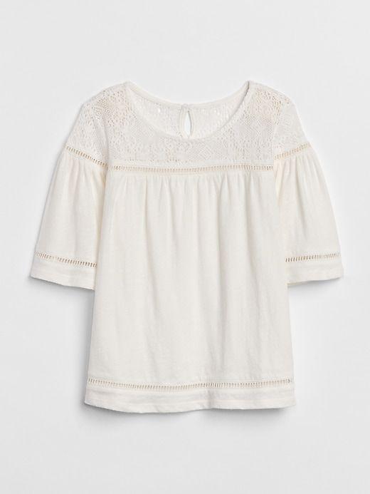 8f9efae7d Gap Girls Crochet Bell-Sleeve Top Ivory Frost