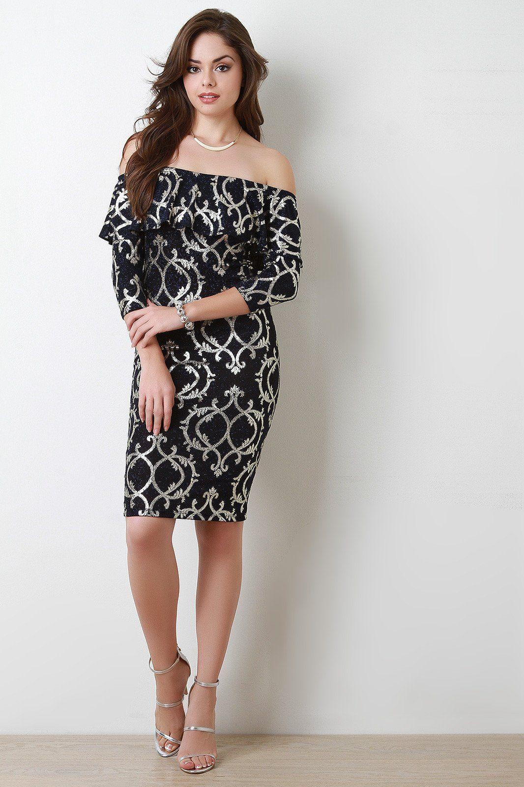 Off The Shoulder Baroque Metallic Ruffle Midi Dress
