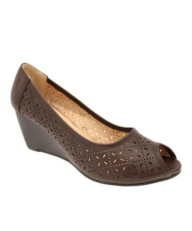 This Chocolate Saina Peep-Toe Wedge by Lena Luisa is perfect! #zulilyfinds