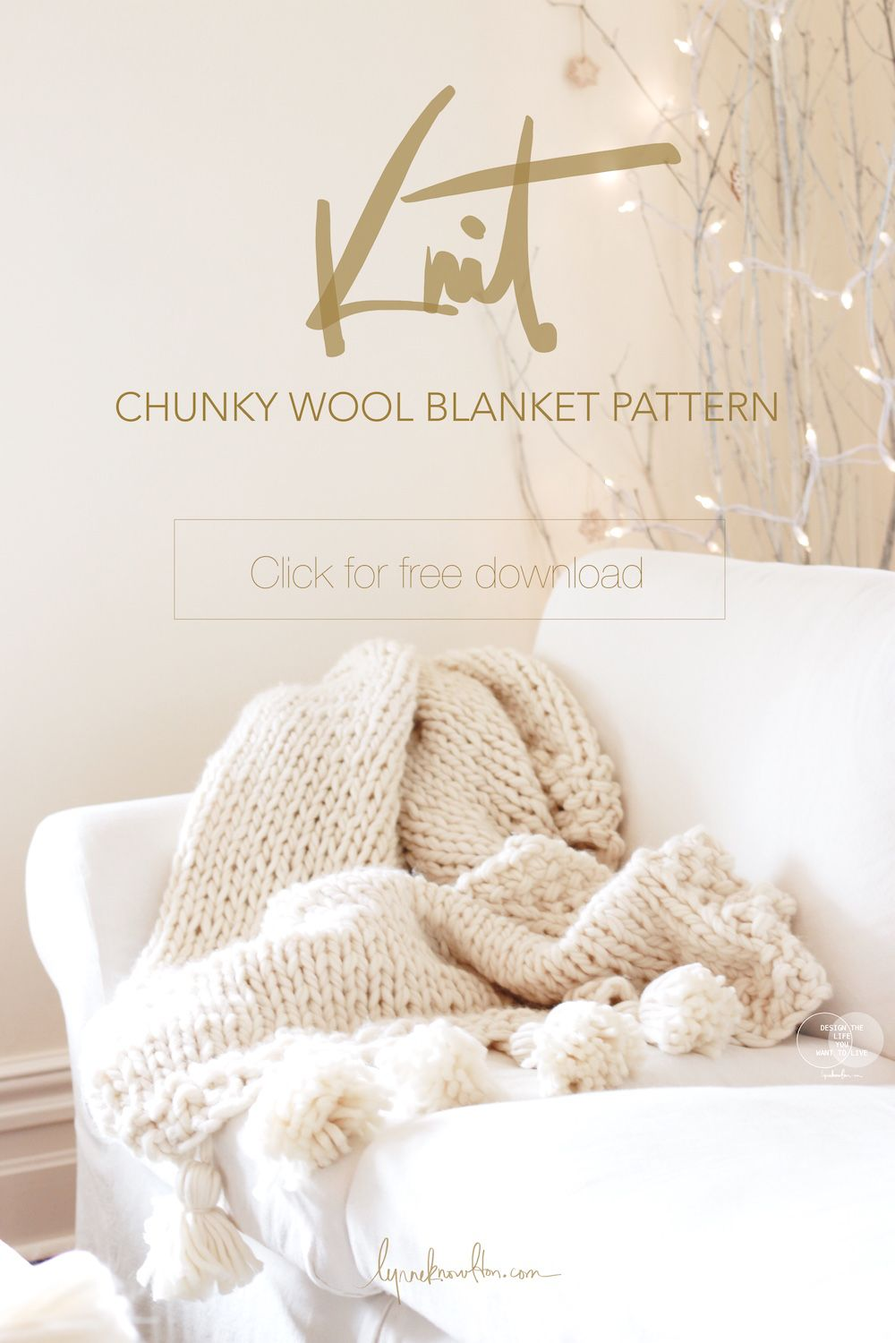 Intermediate level knitting : Chunky Wool Blanket { Free ...