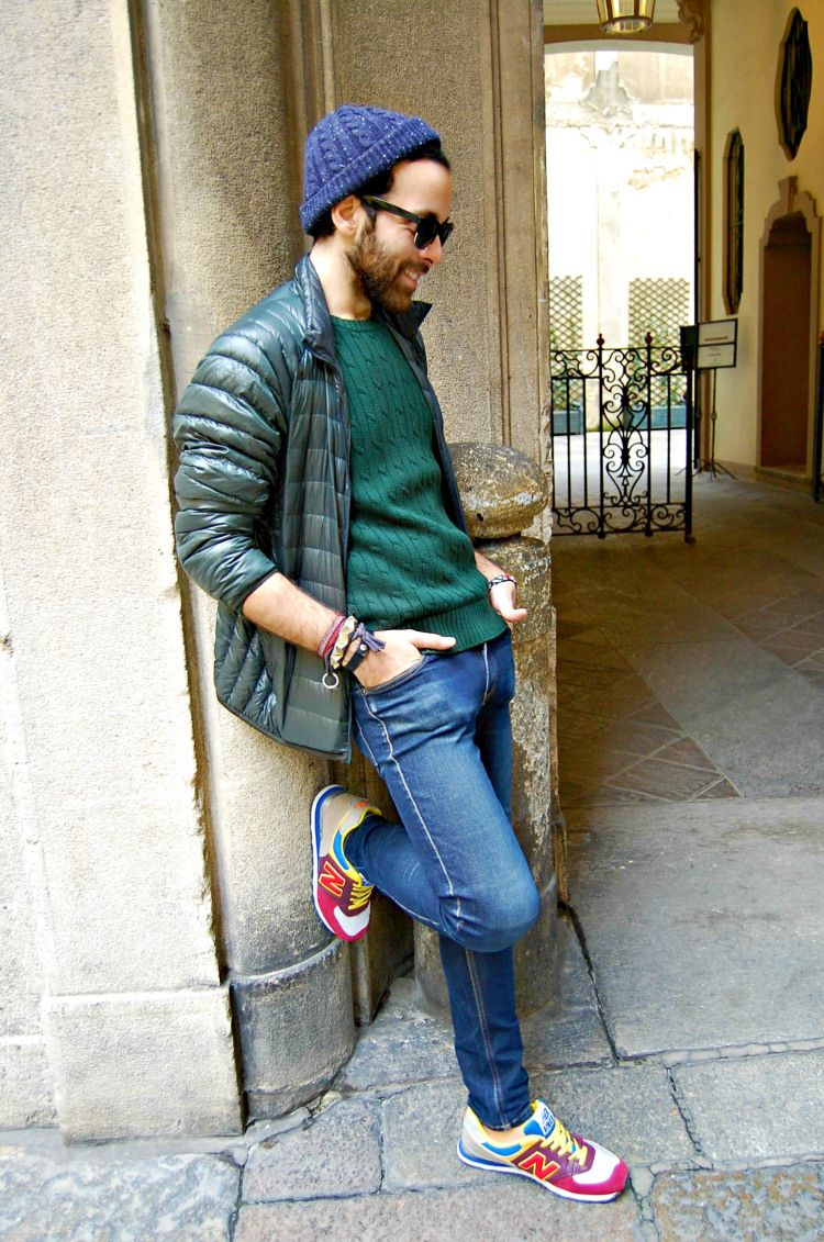 Back In Milan Sneakers New Balance Beanie Jacket Denim Jeans Green Streetstyle Men Tumblr Style