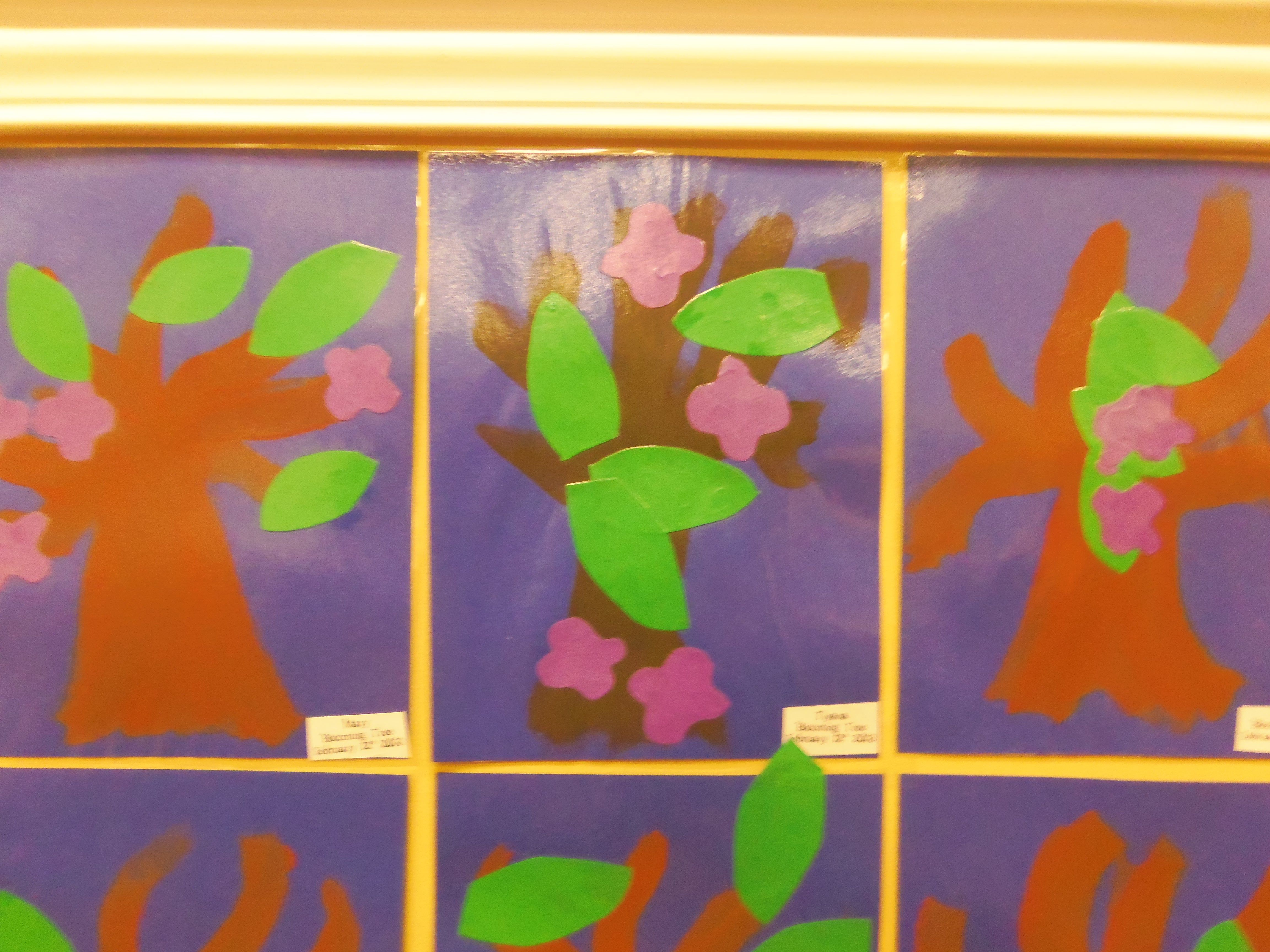 We completed this art project to help the children learn about the signs of spring. We discussed how the bare trees start to sprout leaves and flowers and for art we had the children glue leaves and flowers on the trees.