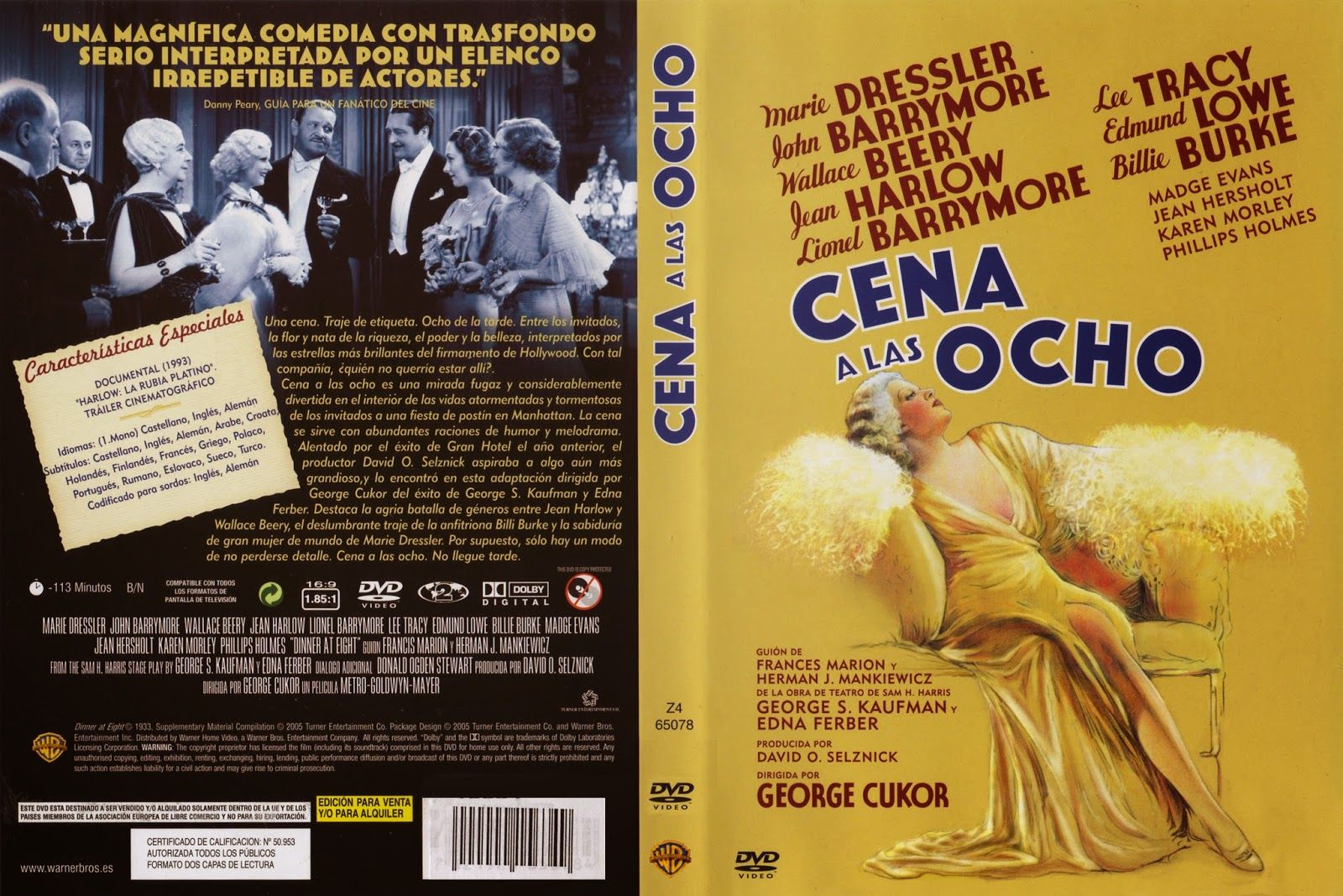 Carátula dvd: Cena a las ocho (1933) (Dinner at Eight)