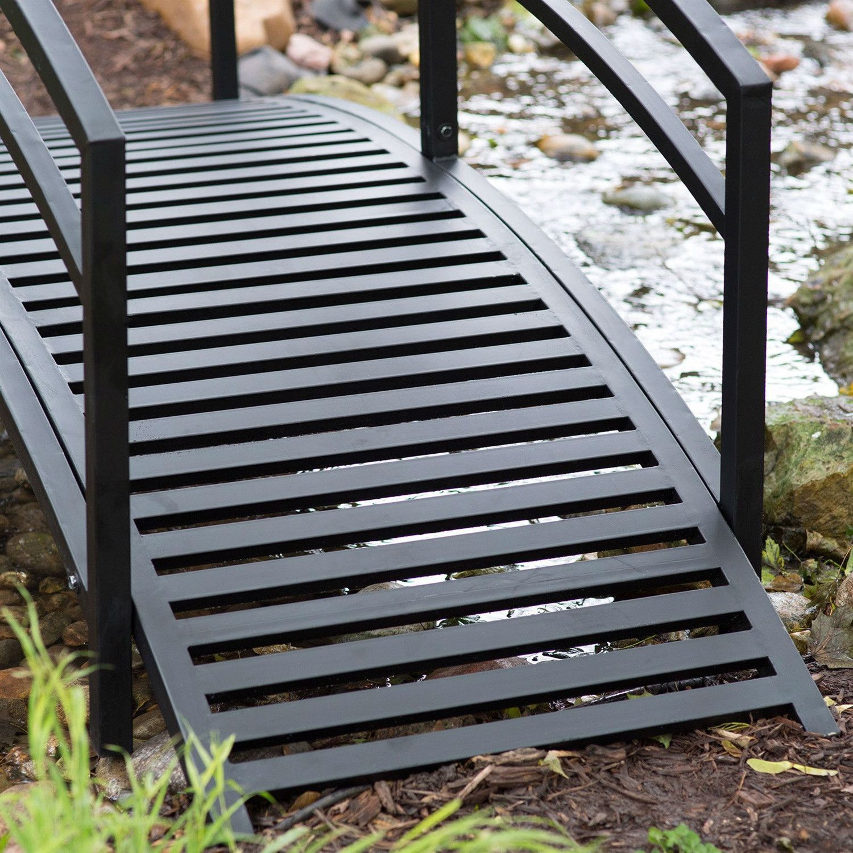 Modern 8 Ft Metal Garden Bridge With Arched Rails In Black Powder Coated  Steel