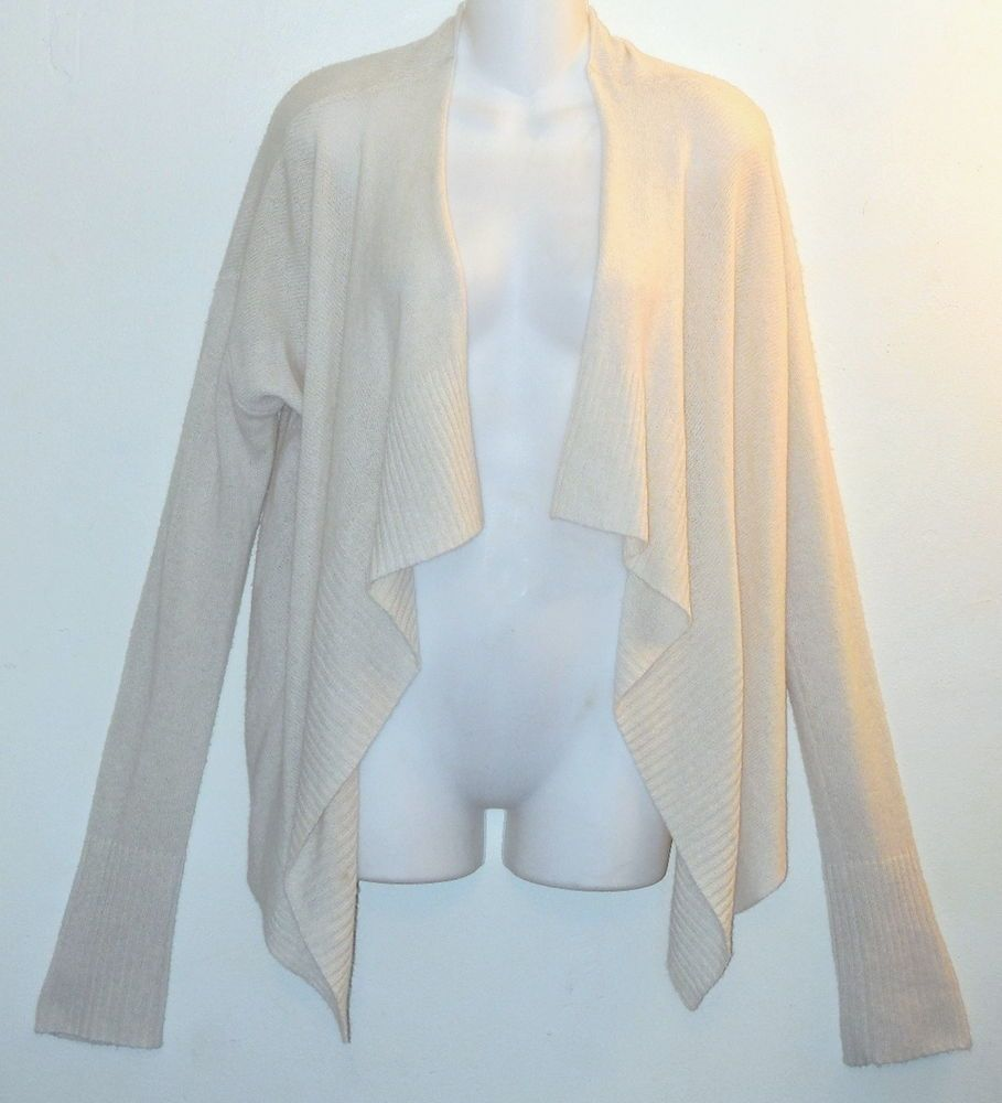 INHABIT Cardigan sz L 100% Cashmere Sweater Ivory Waterfall Front ...