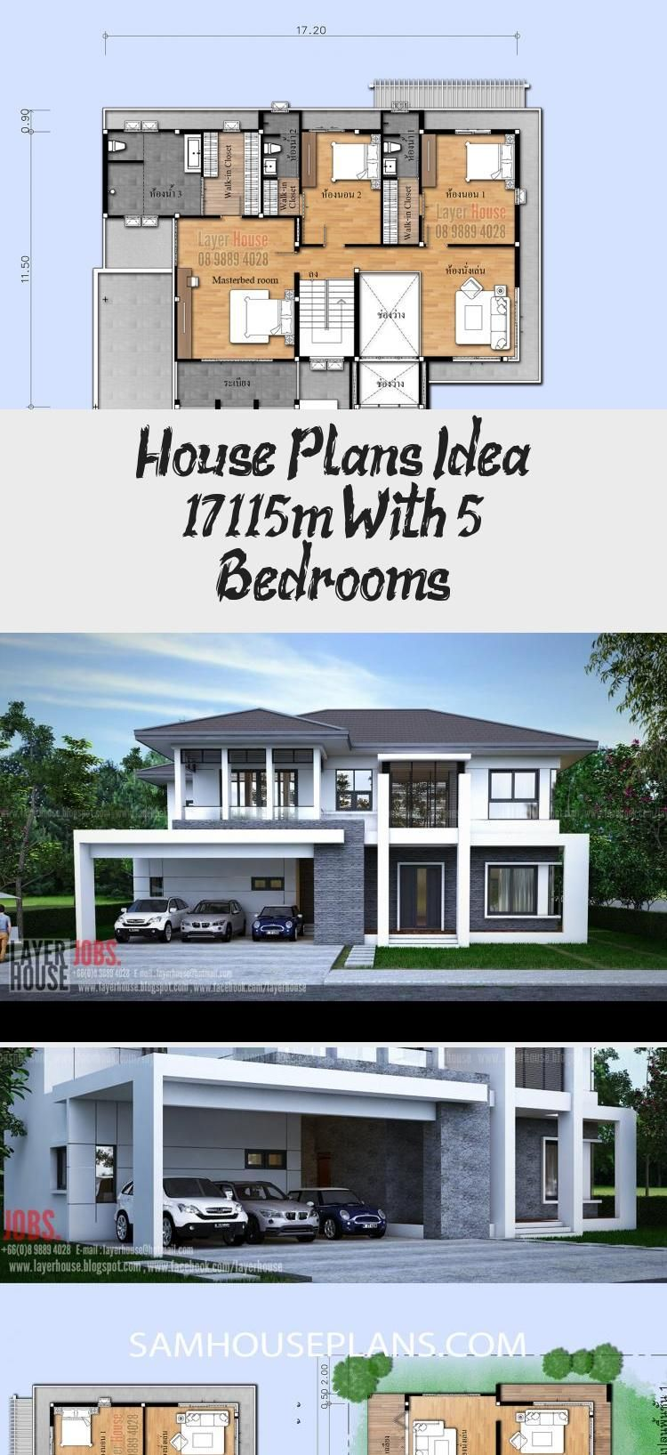House Plans Idea 17x11 5m With 5 Bedrooms Sam House Plans Modernhouseplansonestory Asianmodernhousepla In 2020 Square House Plans House Plans Craftsman House Plans