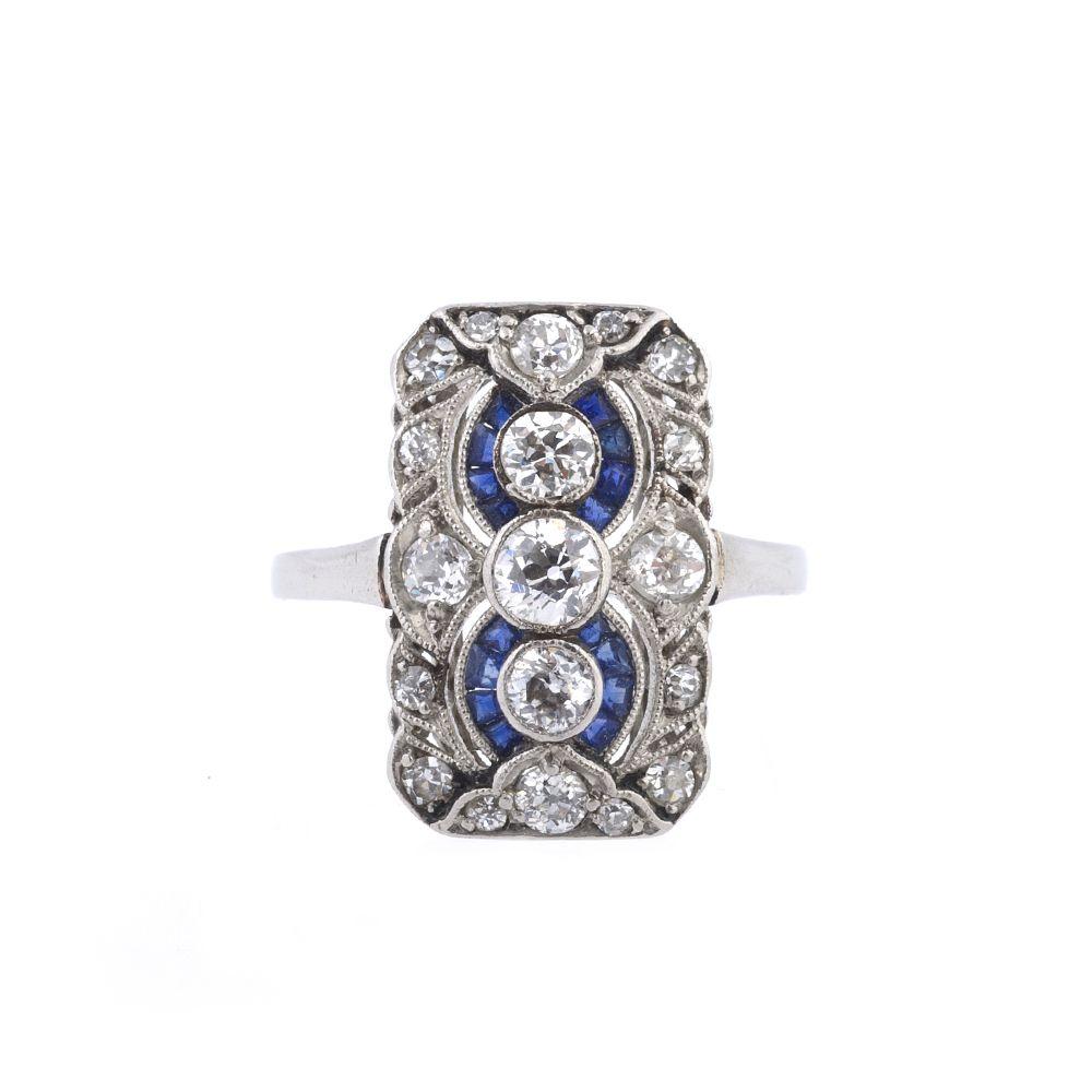 Antique Sapphire Engagement Rings Uk  Art Deco Diamond And Sapphire Ring  Antique  Engagement Ring
