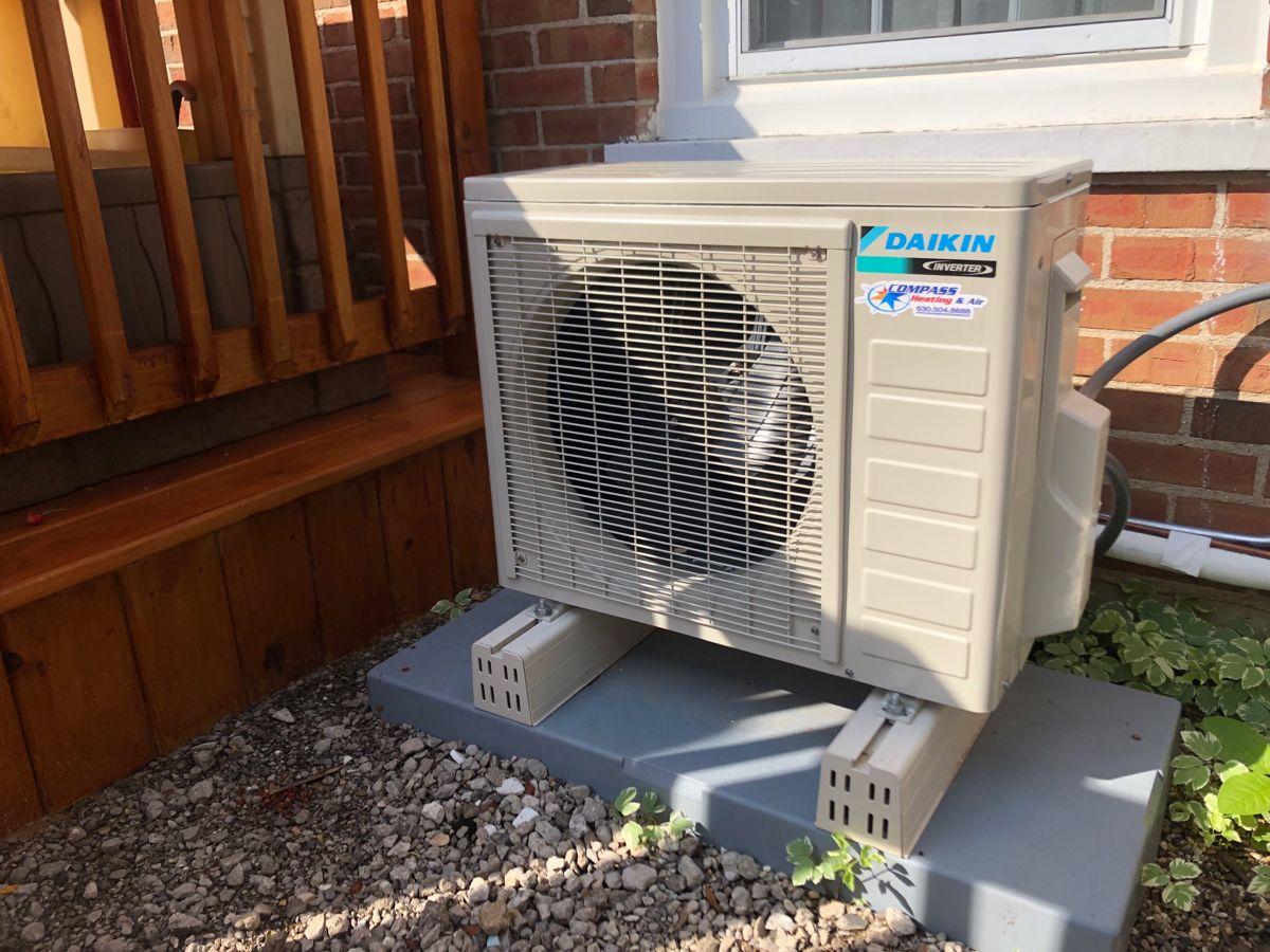 Daikin 17 series heat pump outdoor unit, installed in