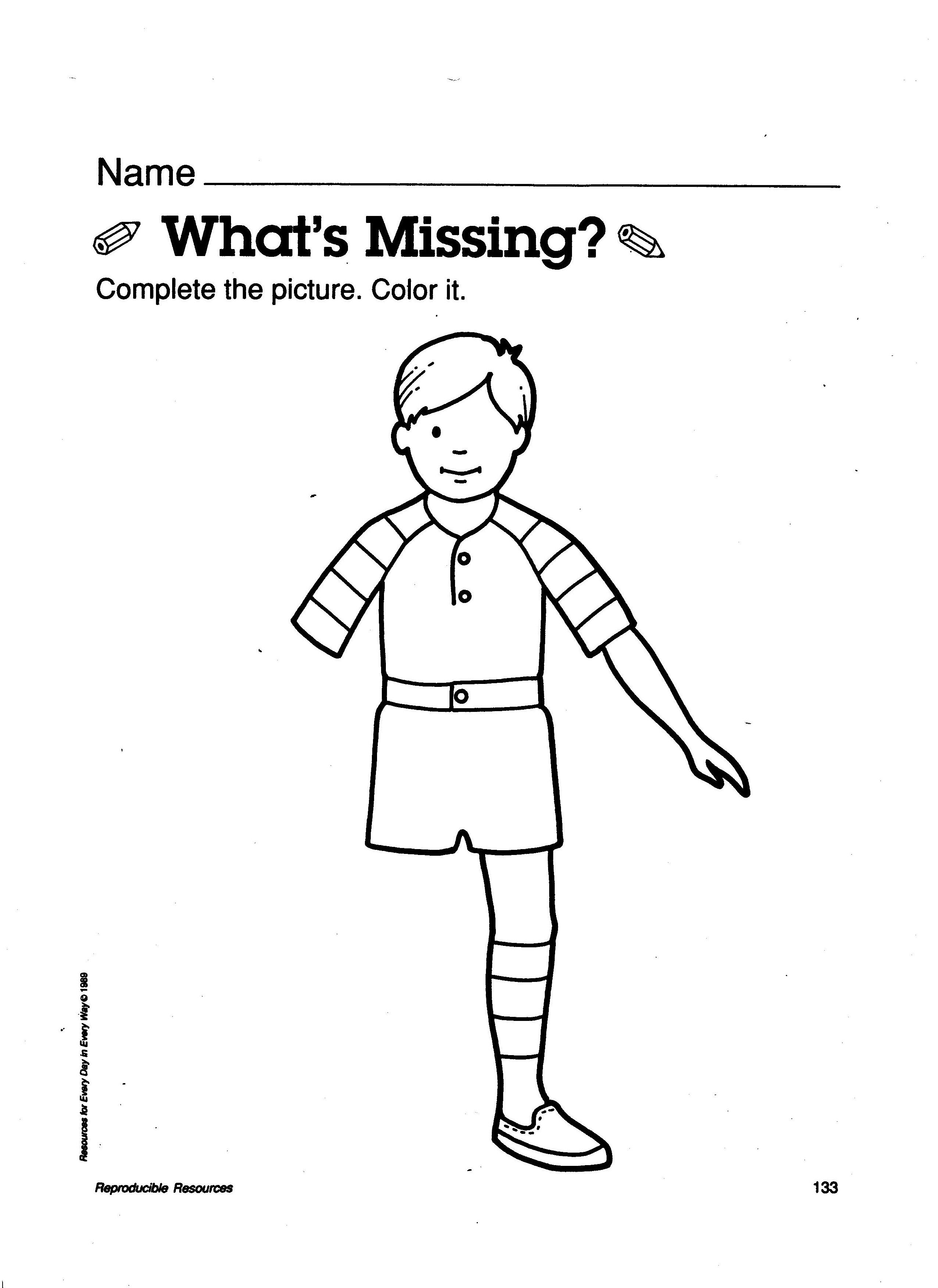 Body Awareness Whats Missing Worksheet Preschool Worksheets