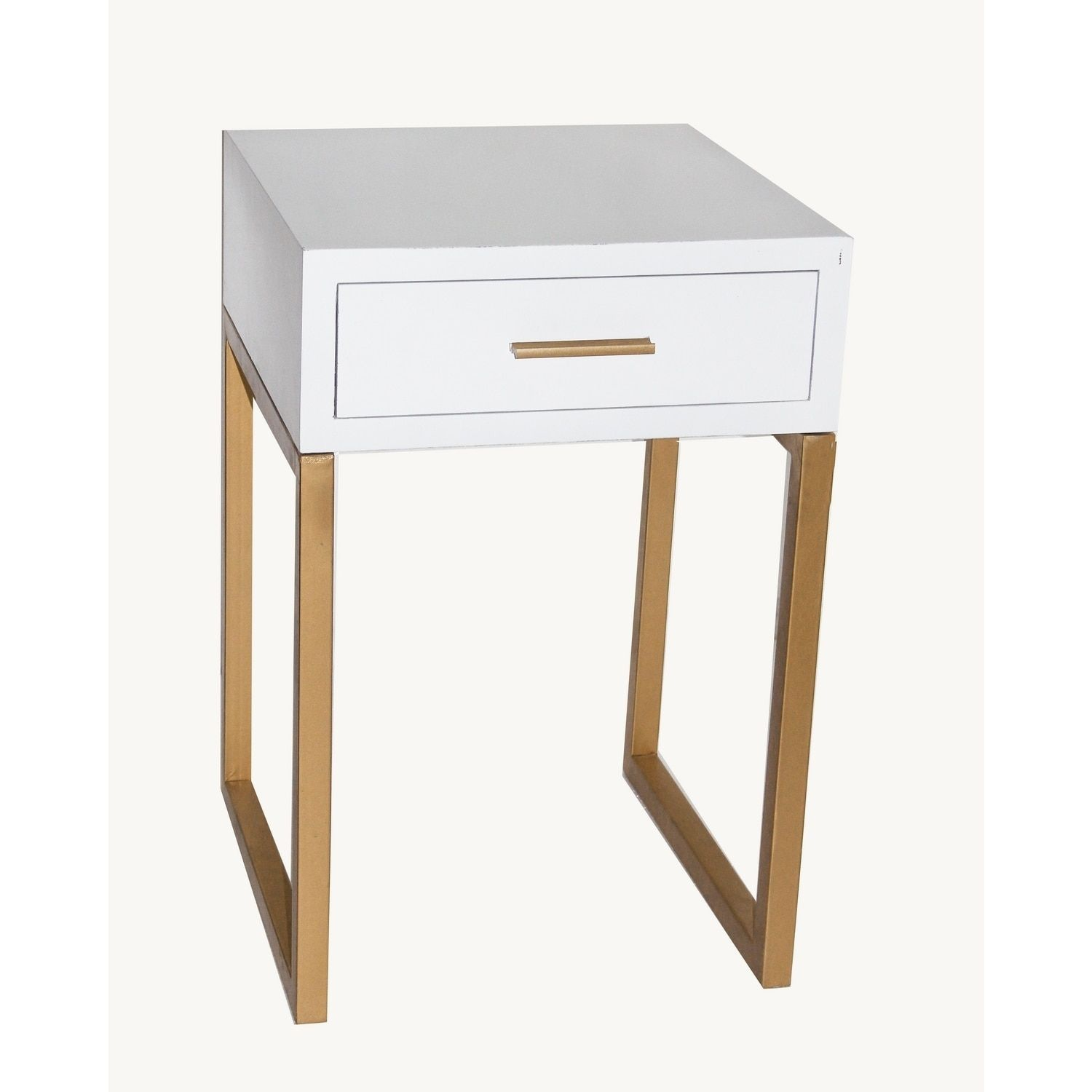 Metal Wood 16 Inch X 16 Inch X 24 Inch 1 Drawer Accent Table