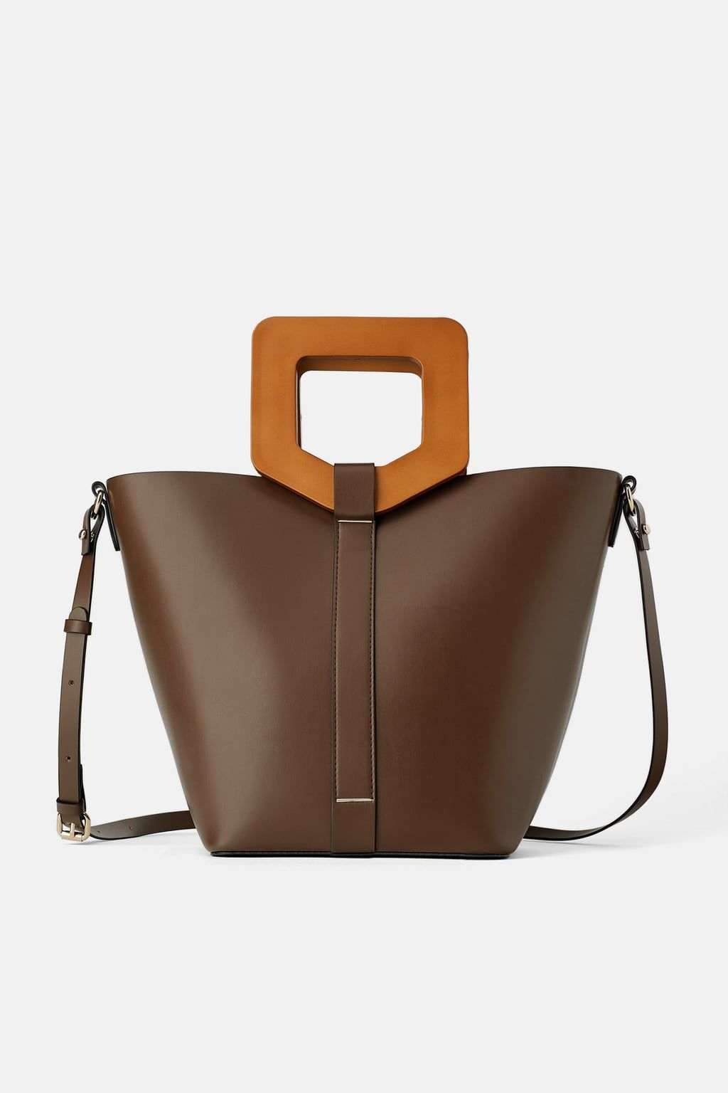 WOOD HANDLED STRUCTURED SHOPPER #woodentotebag