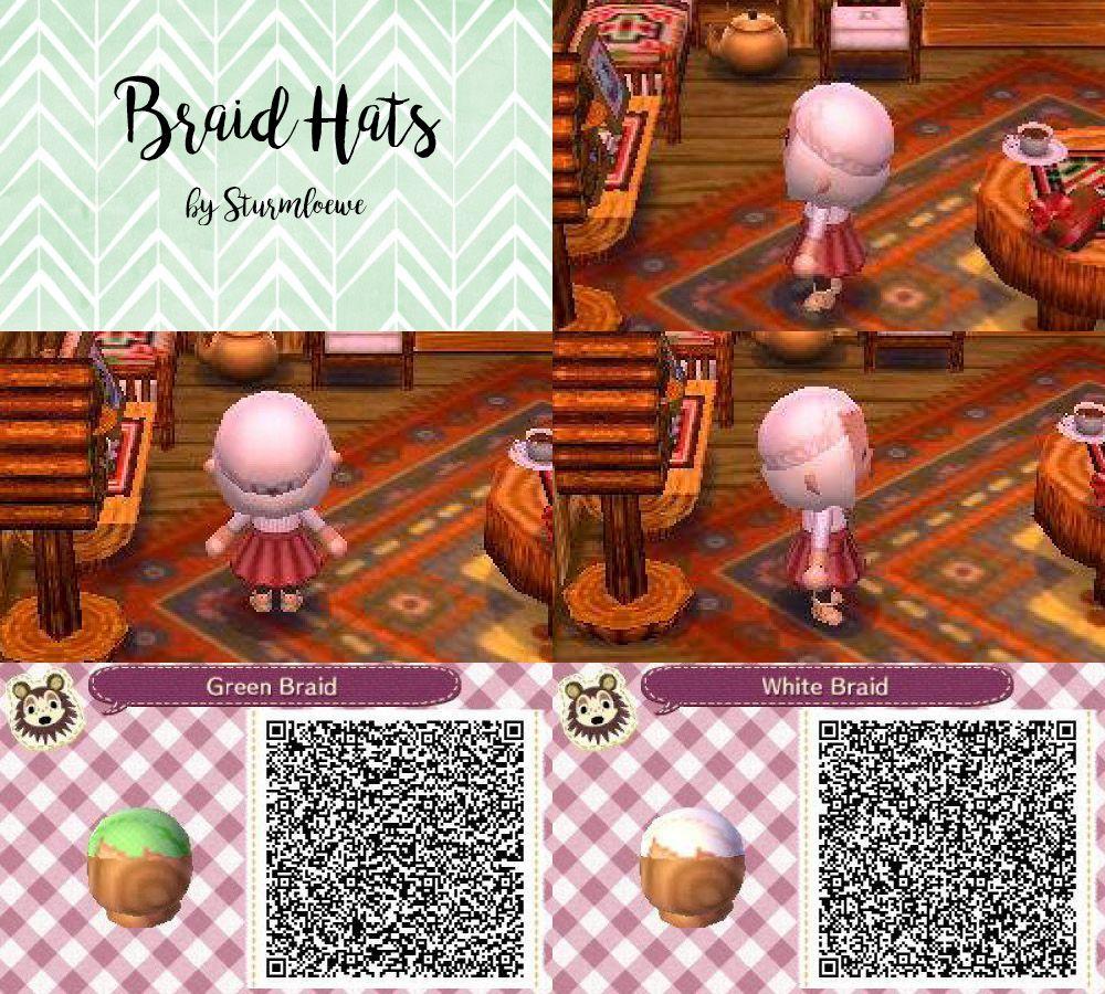 Animal Crossing New Leaf Qr Code Cute Braided Hair Braid Hat Fashion Green White Acnl Design By S Animal Crossing Animal Crossing Hair Qr Codes Animal Crossing