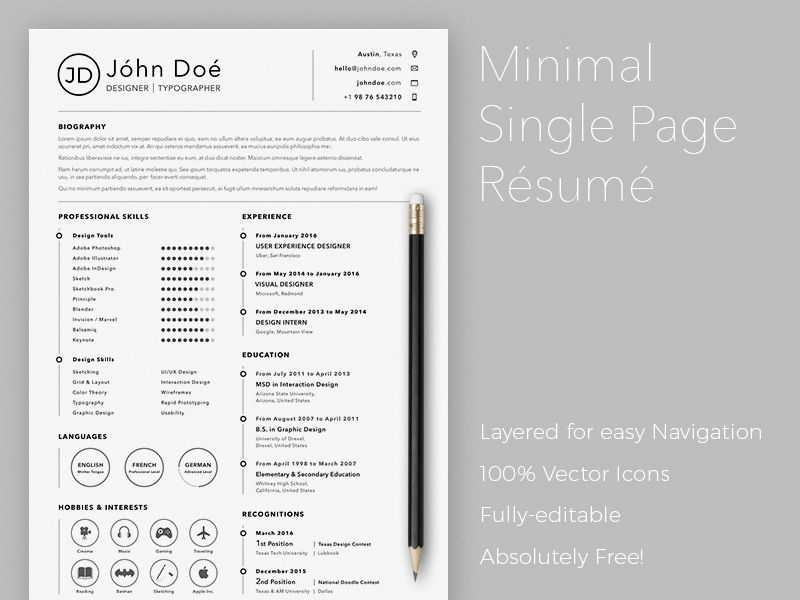 Hi there, here is a free simple sketch resume template for