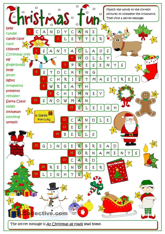 Christmas fun crossword Christmas worksheets