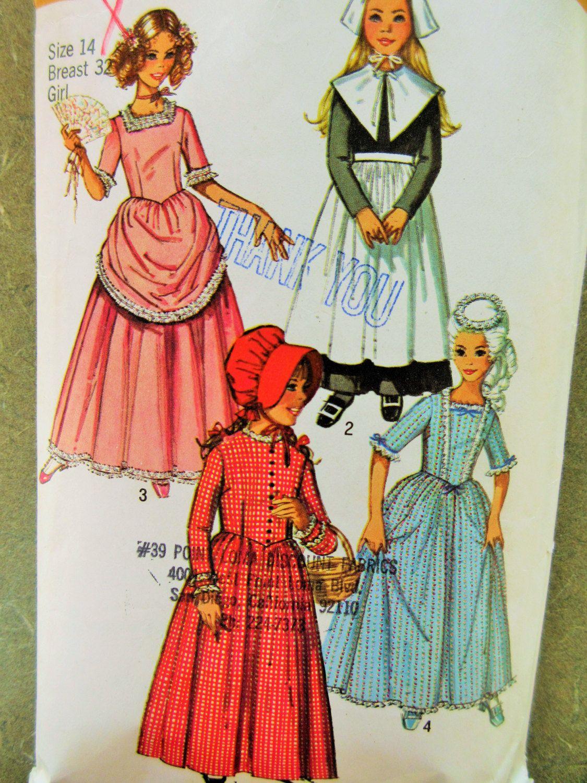 Vintage Simplicity 9136 Sewing Pattern, Puritan Costume Pattern ...