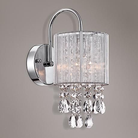 "Possini Euro Silver Line 12""H Chrome and Crystal Sconce ... on Crystal Bathroom Sconces id=54352"