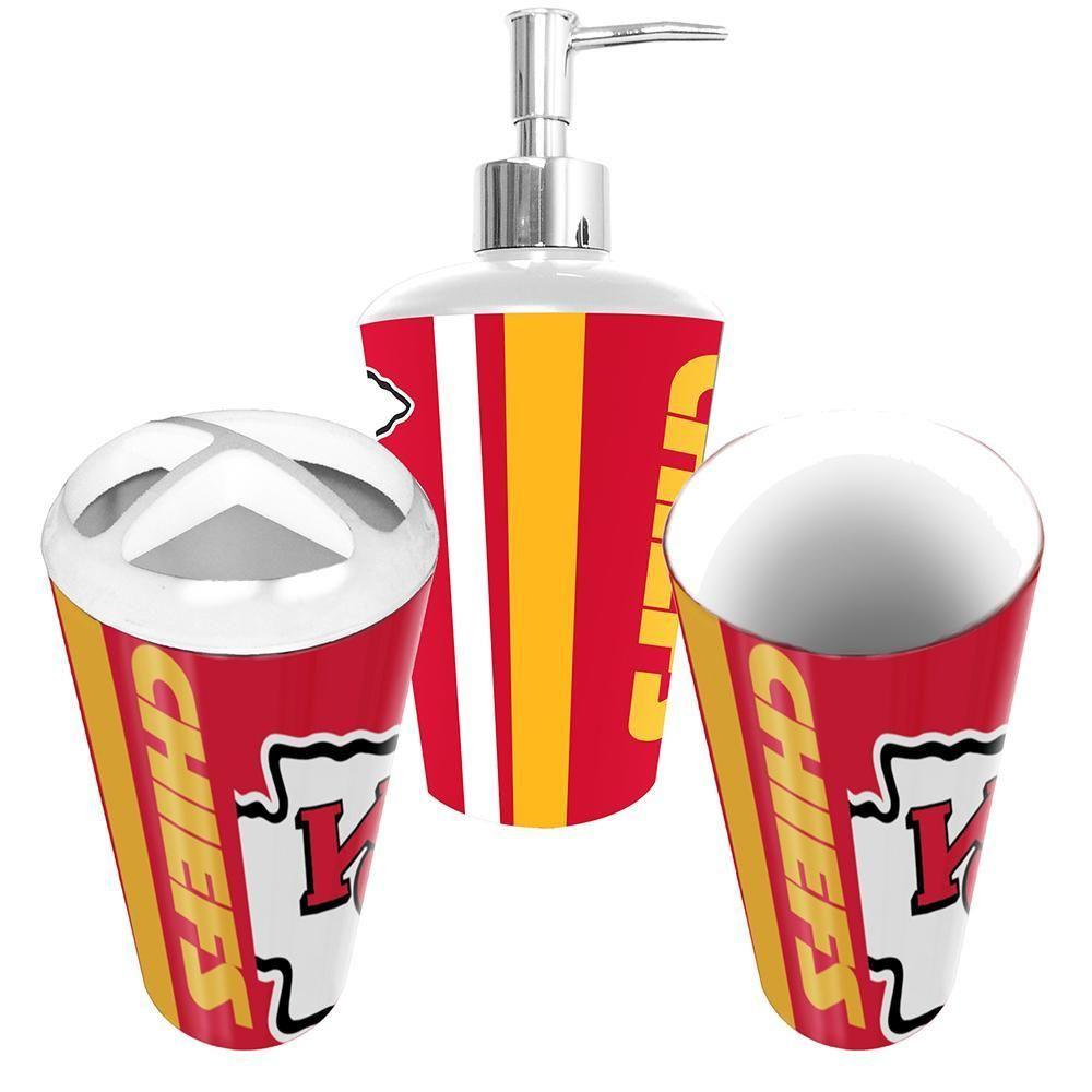 Kansas City Chiefs Nfl Bath Tumbler Toothbrush Holder Soap Pump 3pc Set