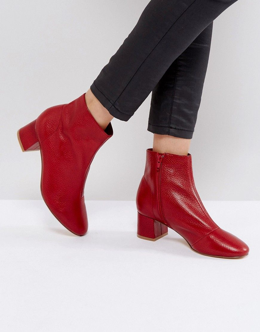 Office Aphid Leather Ankle Boots Red