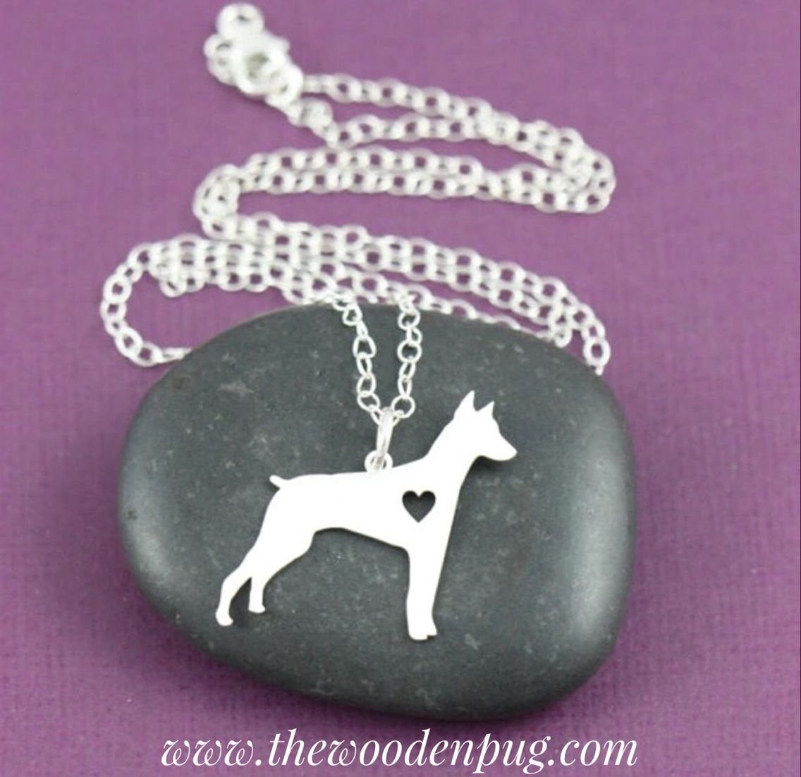 Doberman Necklace (Silver Plated) - www.thewoodenpug.com #dobie #dognecklace