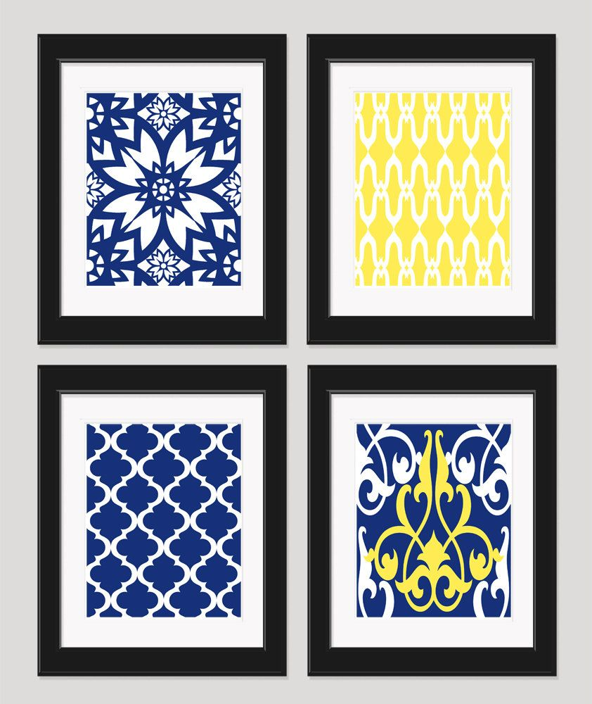 Yellow navy blue art yellow blue wall art home by inkandnectar