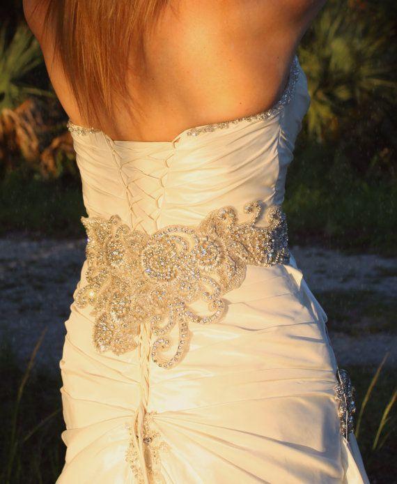 Couture Embellished Wide Bridal Sash Swarovski Crystallized Belt Exquisite Wedding Dress Embellishment Wow Amazing