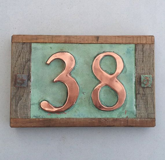 Art Nouveau Copper House Plaque With Oak Frame 1 5x Nos 2 50mm High Numbers D Copper House House Numbers Door Name Plates
