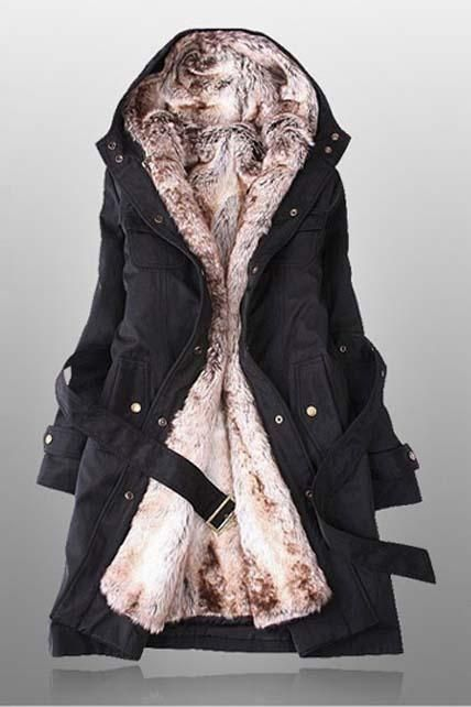 Korean Fashion, Long Faux Fur Lined Winter Coat