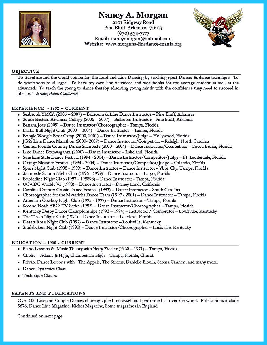 Nice The Best And Impressive Dance Resume Examples Collections Check More At Http Snefci Org Best Impressive Dance Resume Examples Collections