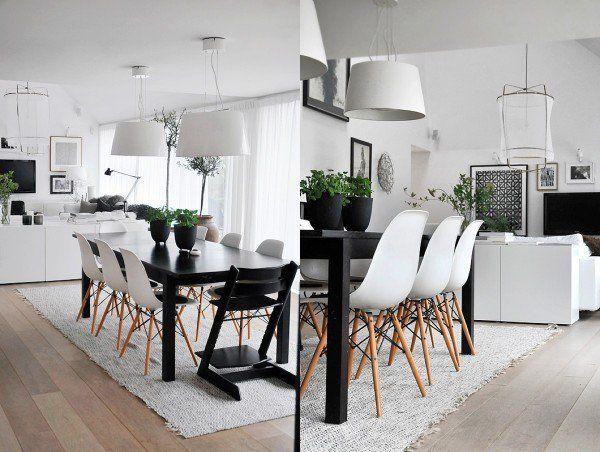 design scandinave salle manger et salon en noir et blanc avec chaises eames