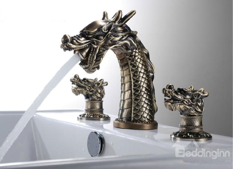 Two Handles Antique Brass Widespread Dragon Pattern Bathroom Sink Faucet