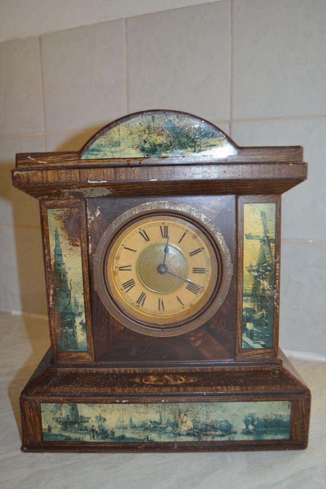 Antique Standing Clock Tin Circa 1890 1910 Ebay Antikvarnye Chasy Chasy Idei