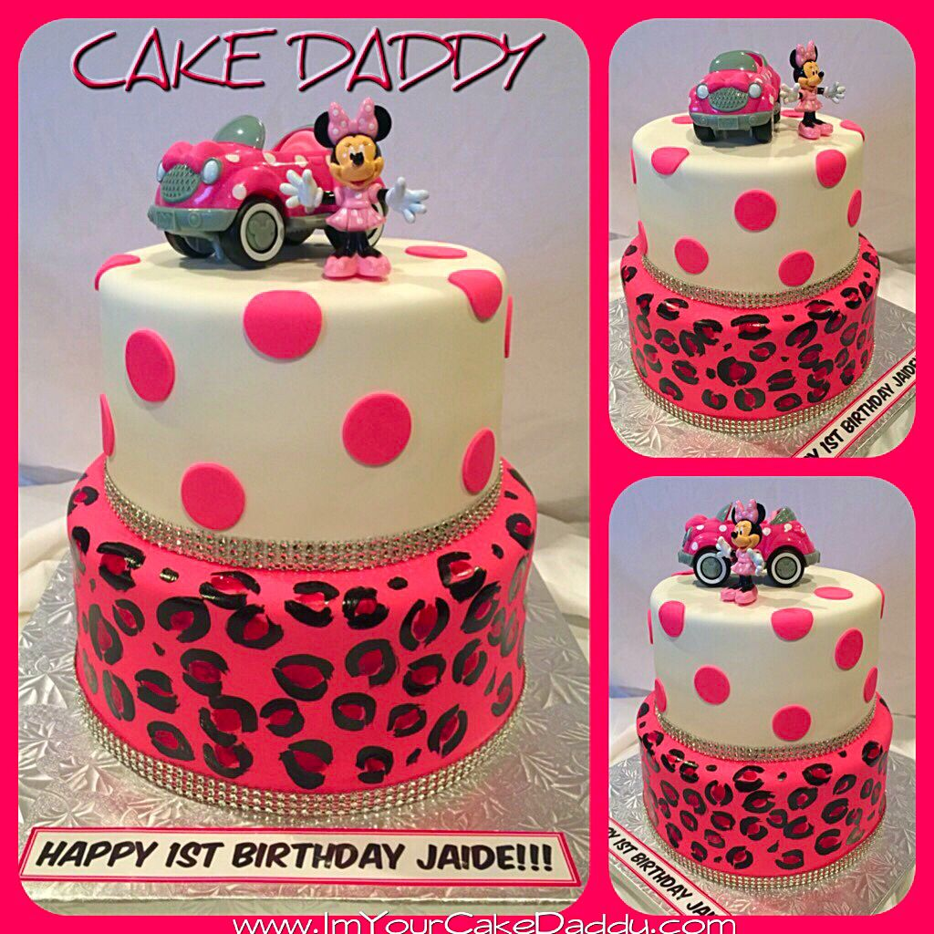 Minnie Mouse leopard print and polka dot birthday cake Custom