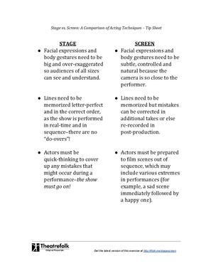 Stage vs. Screen Acting - Tip Sheet - Free Download