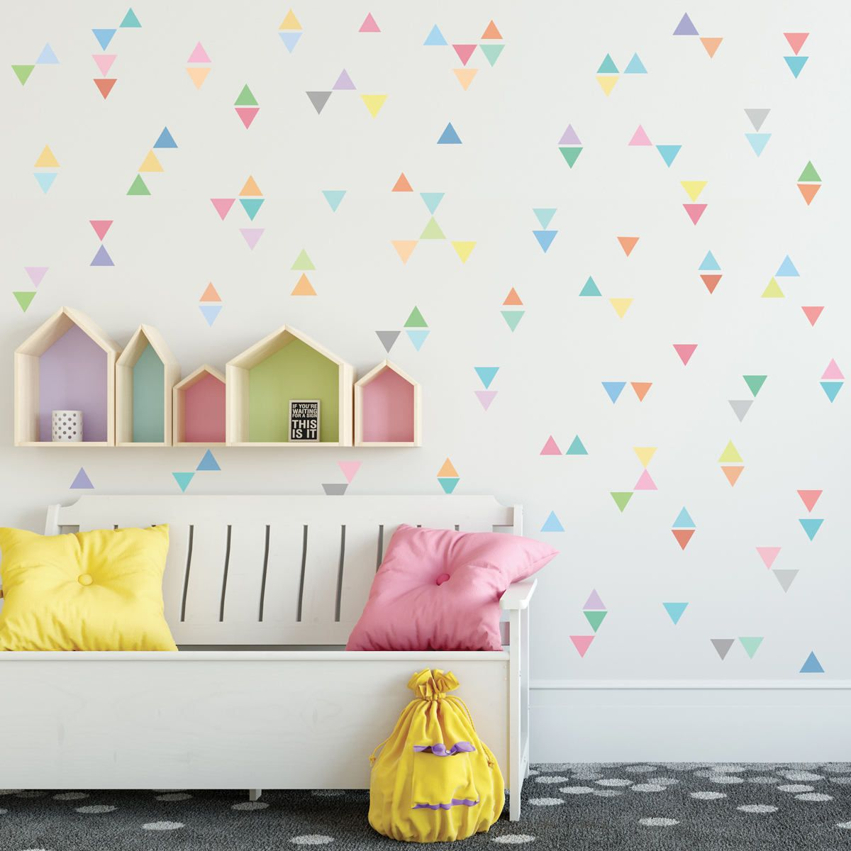 Triangle Wall Decals 96 Mini Pastel Triangle Wall Decal Fabric